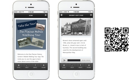 Des Plaines Mobile Tour App Screenshots and QR code