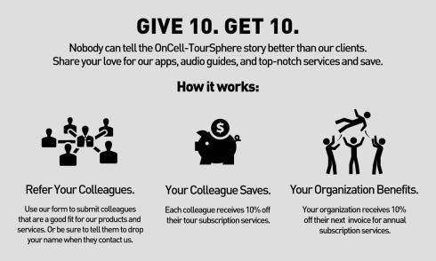 OnCell TourSphere App & Audio Guide Referral Program