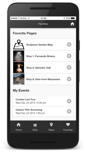 Museum and Event mobile app builder favorite sites page